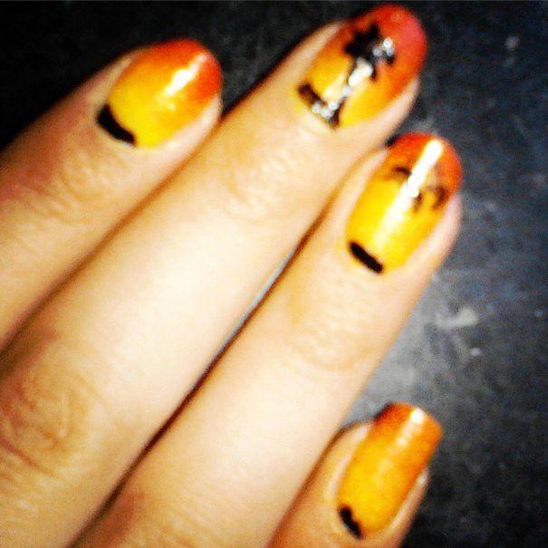 DIY: mijn nagels zon palmboom geel, rood, oranje, zwart nailart selfmade