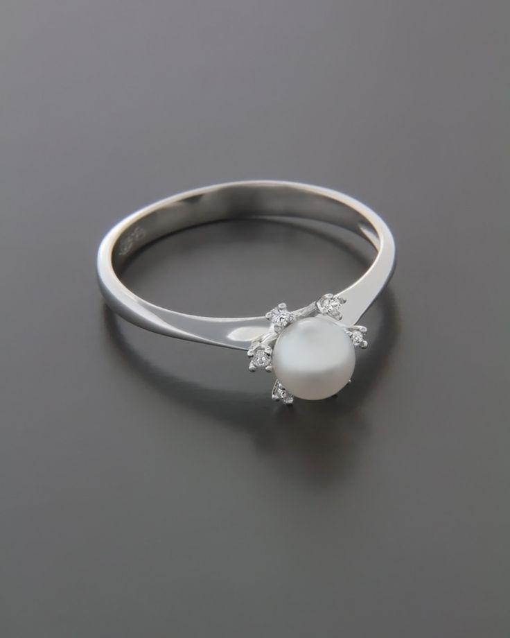 Δαχτυλίδι λευκόχρυσο Κ14 με Μαργαριτάρι & Ζιργκόν