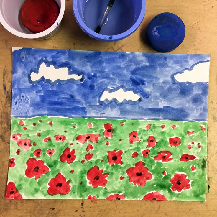 Veterans Day Poppy Painting. Veterans Day is coming up on Friday. Honor our vets and learn a little about perspective too. #veteransday #poppy