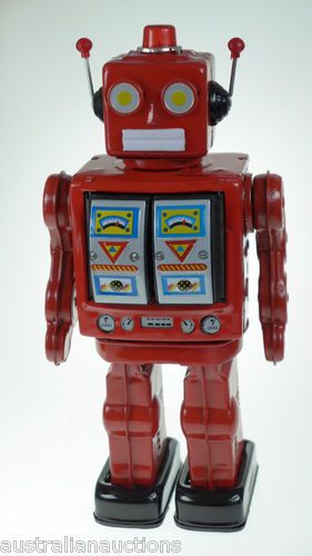 Machine GUN RED Classic Retro TIN TOY Robot Fires Greatfor Christmas Present