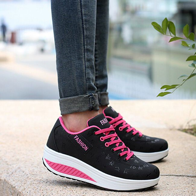 Women's Sport Shoes Winter Lace-Up Sneakers Thicken Heel Comfy Trainers Shoes