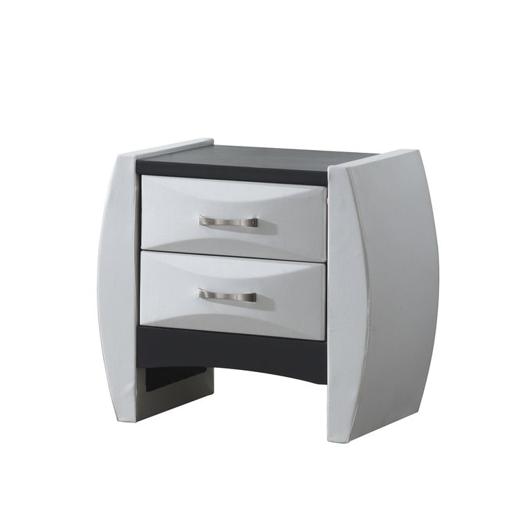 Beveled White 2-Drawer Nightstand