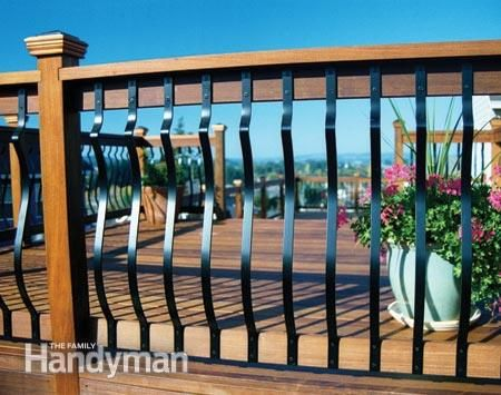 Aluminum balusters are inexpensive and available in a number of attractive designs in highly durable colored finishes. You should never have to refinish them. They eliminate that endless chore of cleaning and refinishing wood balusters. No-Maintenance Deck Railings: http://www.familyhandyman.com/decks/railing/no-maintenance-deck-railings/view-all