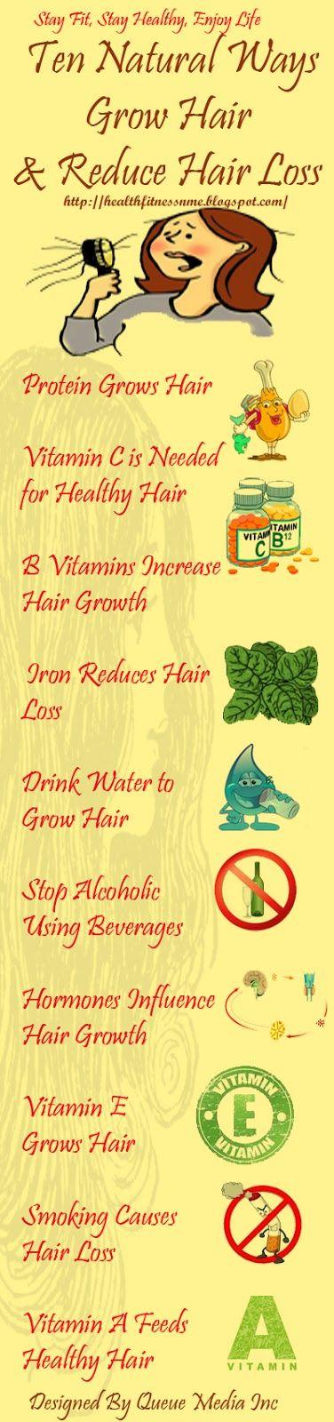 Ten Natural Ways to Grow Hair and Reduce Hair Loss. #hair #alcohol #smoking #vitamins #protien #water
