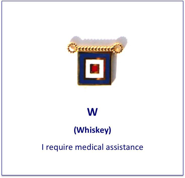 W (Whiskey) signal flag charm