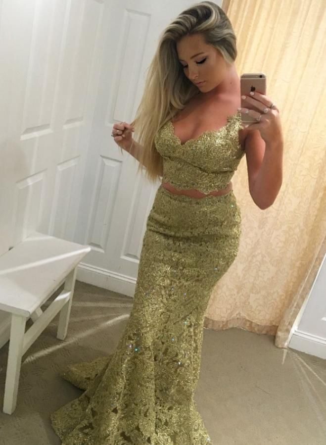 e3f06b598b Two Piece Gold Lace Prom Dresses Tank Straps Evening Dresses ...