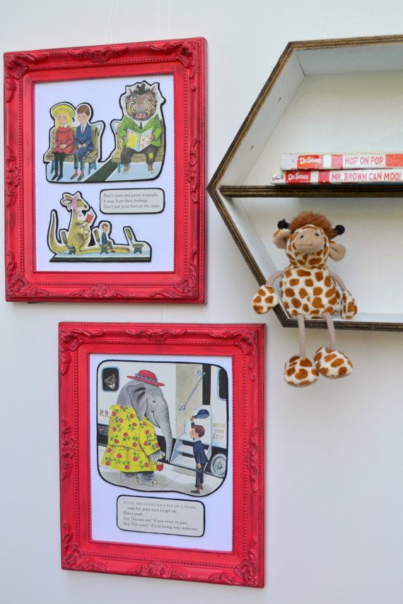 Vintage upcycled Little Golden Book Manners page by boutique789, $20.00