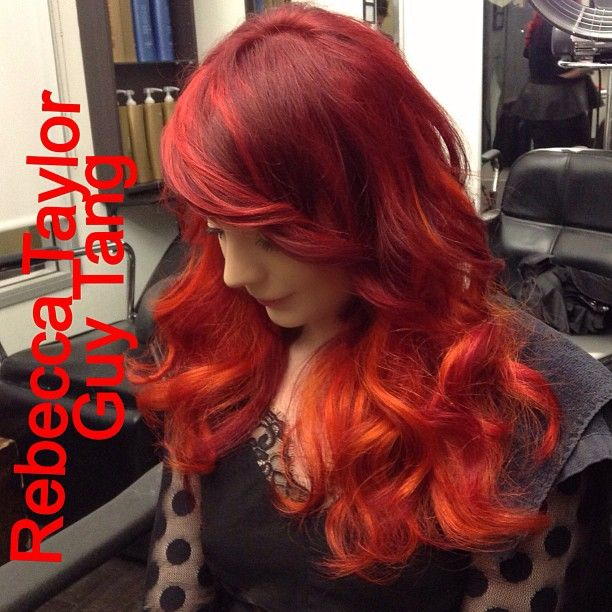 Fire Ombre by Guy Tang and Rebecca Taylor using hair extensions. Watch the video in youtube. www.youtube.com/sailoguy