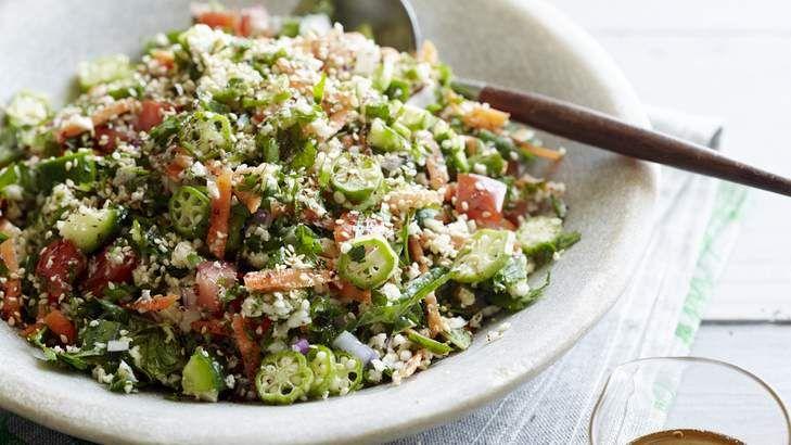 Tick the vegie box with this raw cauliflower tabbouleh.