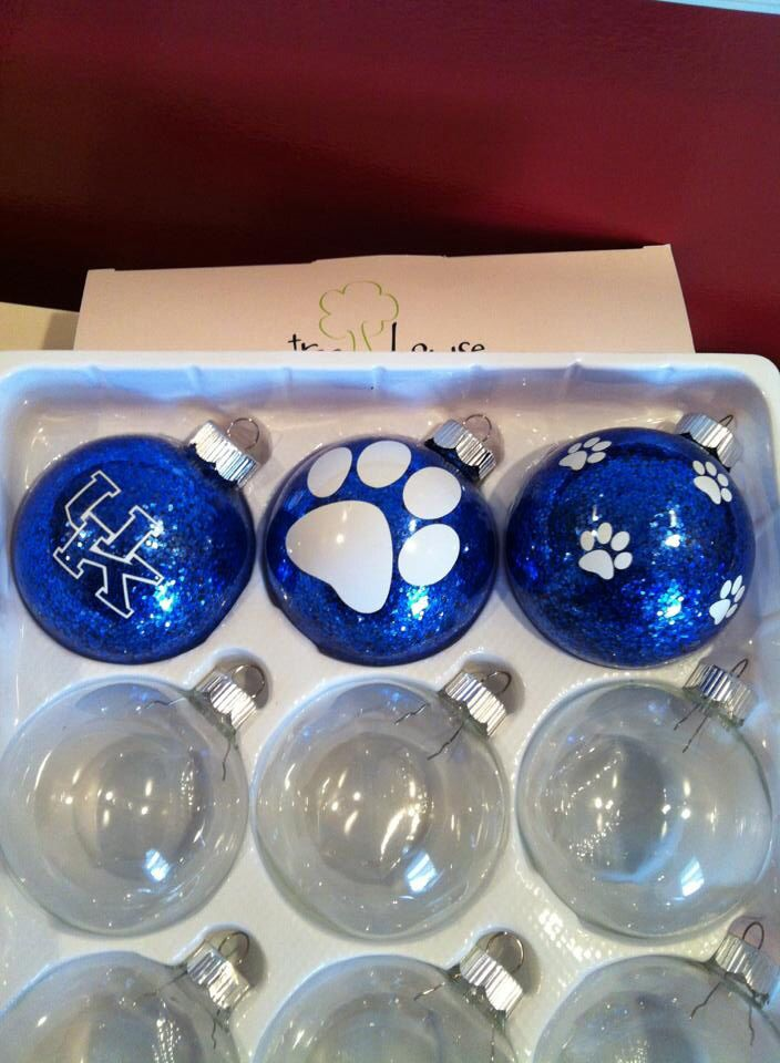 Kentucky Christmas Ornaments. I made with clear ornaments, hairspray,  glitter, and of course I used my Cricut Explore...