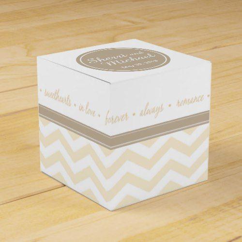 Chic Chevron Monogram   blush taupe white Favor Box
