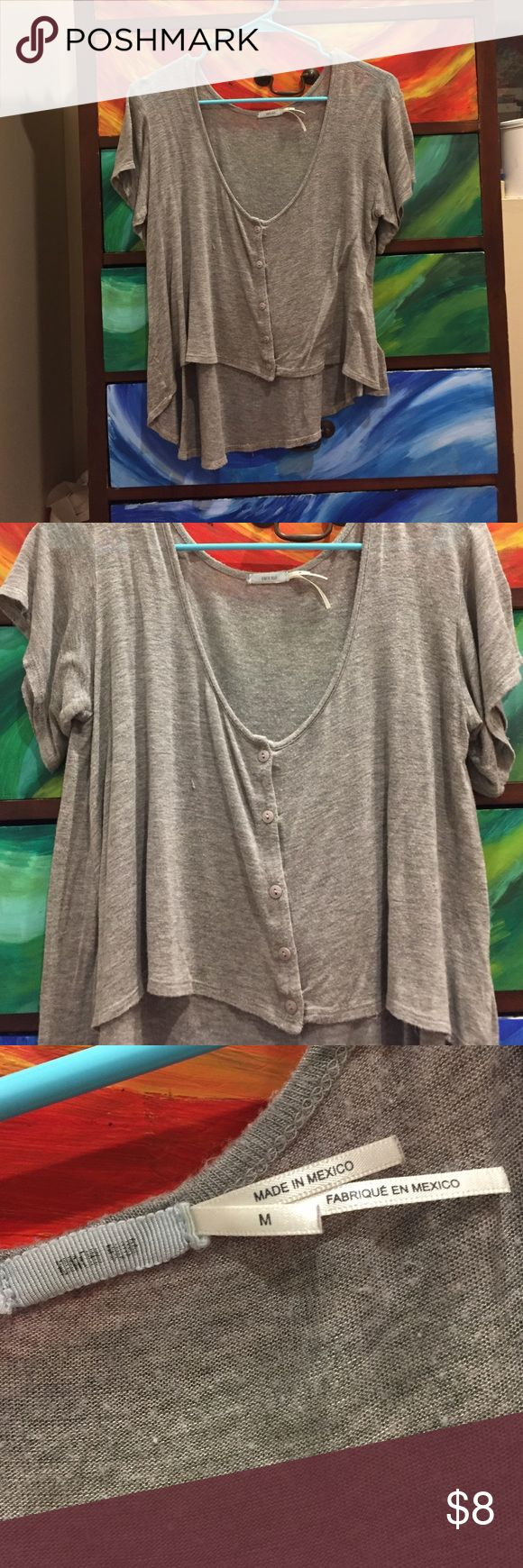 Gray Cropped Tee high-low style tee shirt, button up. light, float material. soft and comfy :) Urban Outfitters Tops Crop Tops