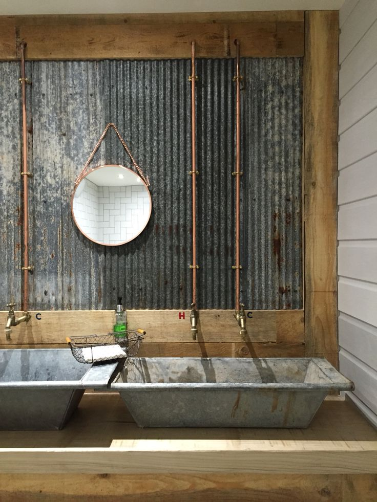 like concrete sinks, not crazy about the galvanized steel back–splash