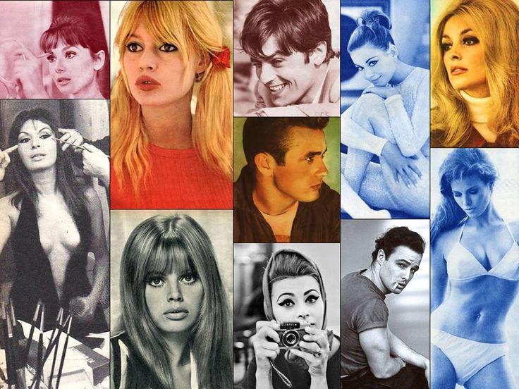 Audrey Hepburn, Rika Diallina, Brigitte Bardot, Britt Ekland, Alain Delon, James Dean, Sophia Loren, Claudine Auger, Marlon Brando, Sharon Tate & Raquel Welch