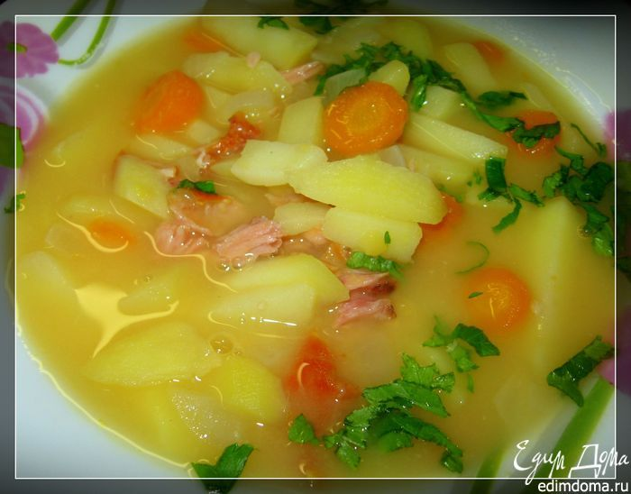 Суп гороховый двойной с копченостями в скороварке в скороварке | Кулинарные рецепты от «Едим дома!»