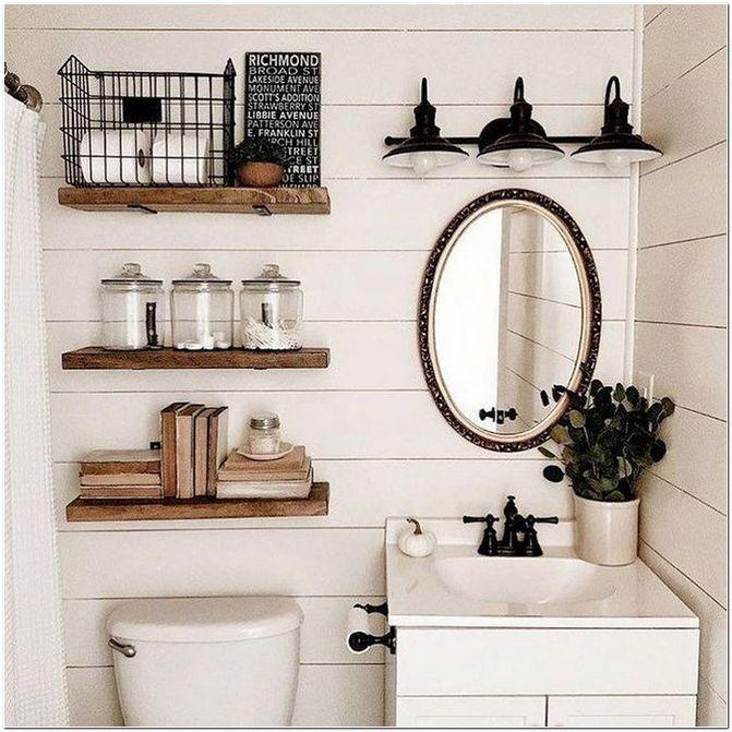 45 Decorative Shelves Beautiful Bathroom Shelves Decorating Ideas Bathroom Design Small Farmhouse Bathroom Decor Bathroom Decor