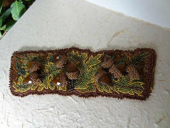 Beaded embroidery carved calcite acorns and oak leaves