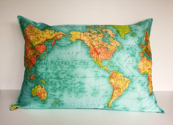 GIANT VINTAGE WORLD map floor cushion, organic cotton world map cushion, pillow 86cm/34inches x 61cm/ 24 inches .