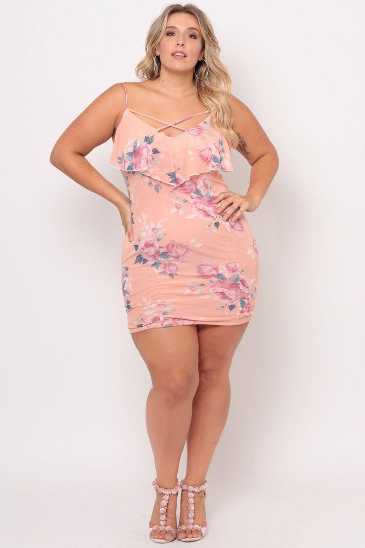 Plus Size Rose Mesh Bodycon Dress - Pink