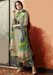 Party Wear Beige Linen Thread Work Straight Suit