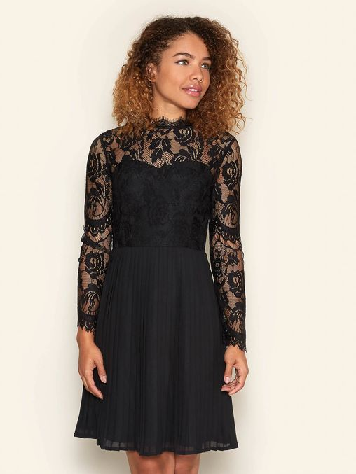 Long Sleeve Lace Pleated Dress Black | Yumi