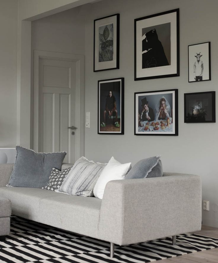 picture wall, warm grey living room