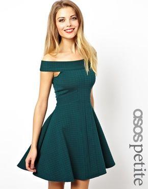 ASOS PETITE Exclusive Check Textured Bardot Skater Dress