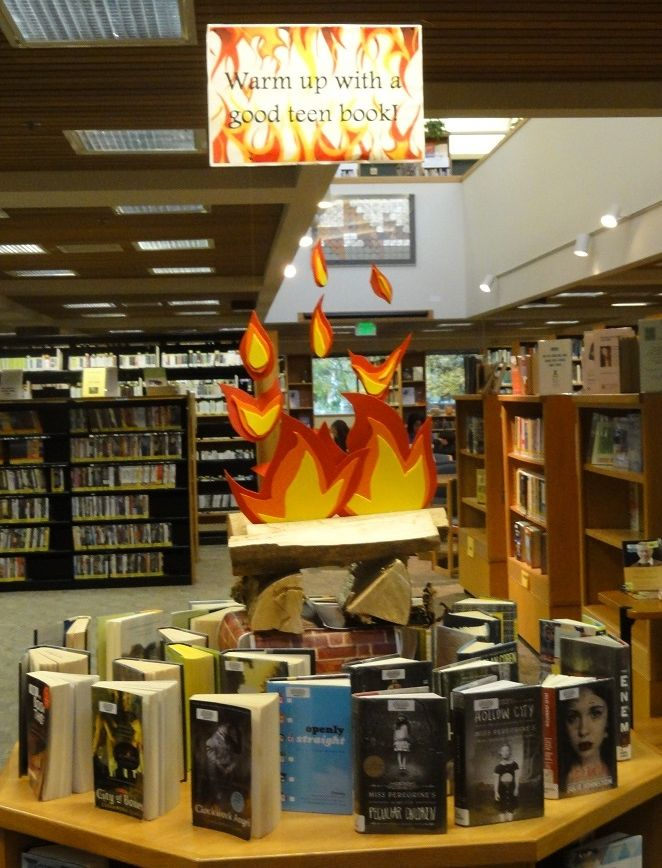 Keep warm this winter with a good teen book, our fun, faux fire display.