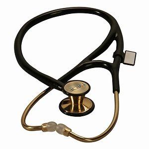 LOVE MDF Instruments 22k Gold ER Premier Stethoscope, Noir Black