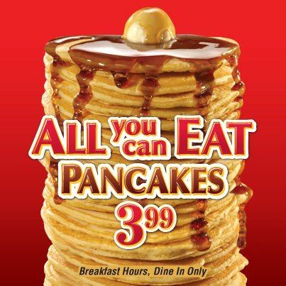 Rise and shine, it's pancake time! And with $ All You Can Eat Pancakes, we might be here a while.