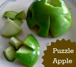 Puzzle Apple fun with food for kids