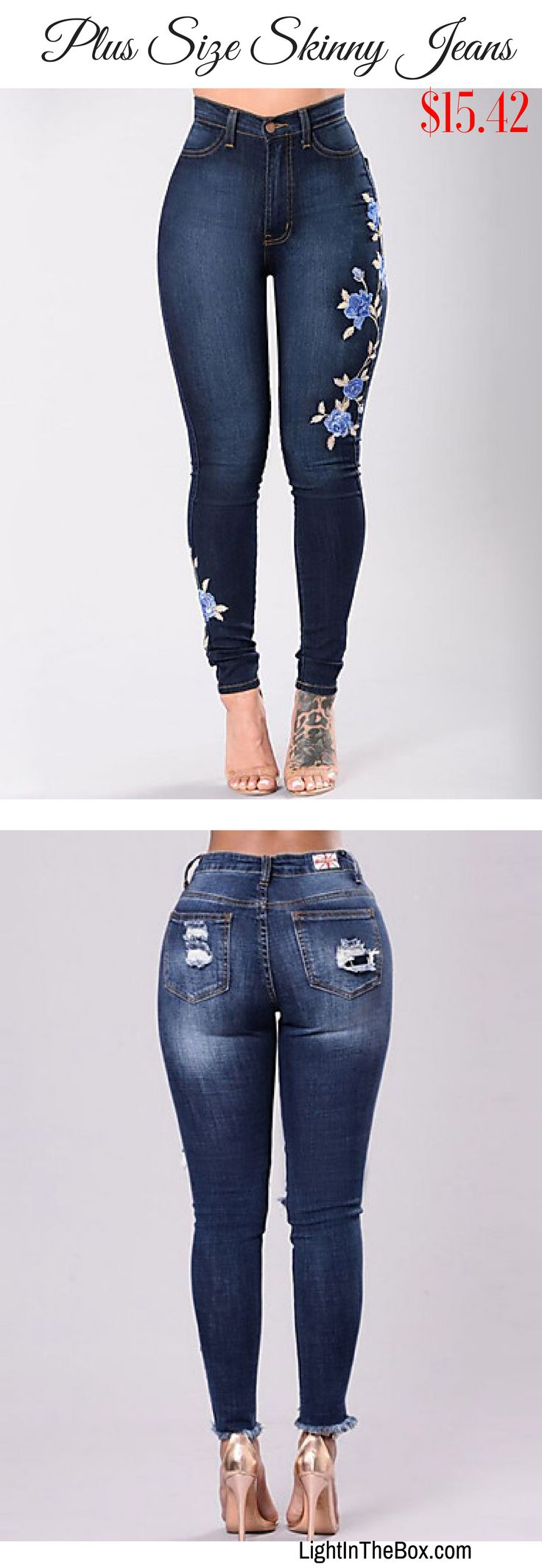 Plus size skinny denim jeans with floral print at just $15.42. Like them?  Click