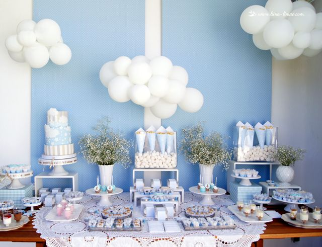 The dessert table for this Stars and Clouds birthday themed party