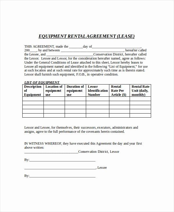 Simple Equipment Rental Agreement Template Free Elegant 21 Free Lease Agreement Te Contract Template Rental Agreement Templates Creative Business Plan Template