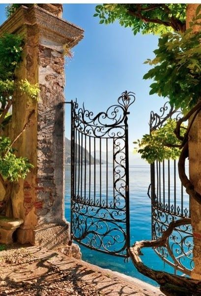 Gate entry onto Lake Como in Lombardy, Italy - What if you could have something like this at your dream home? Amazing...