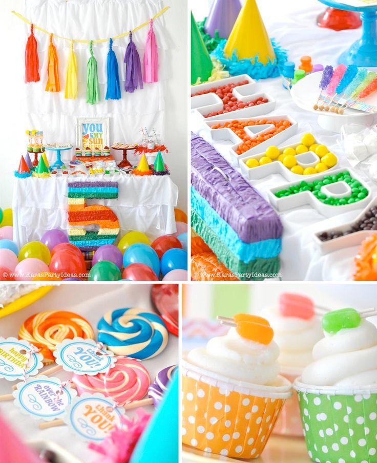 décoration anniversaire enfant- buffet sucré en couleurs joyeuses