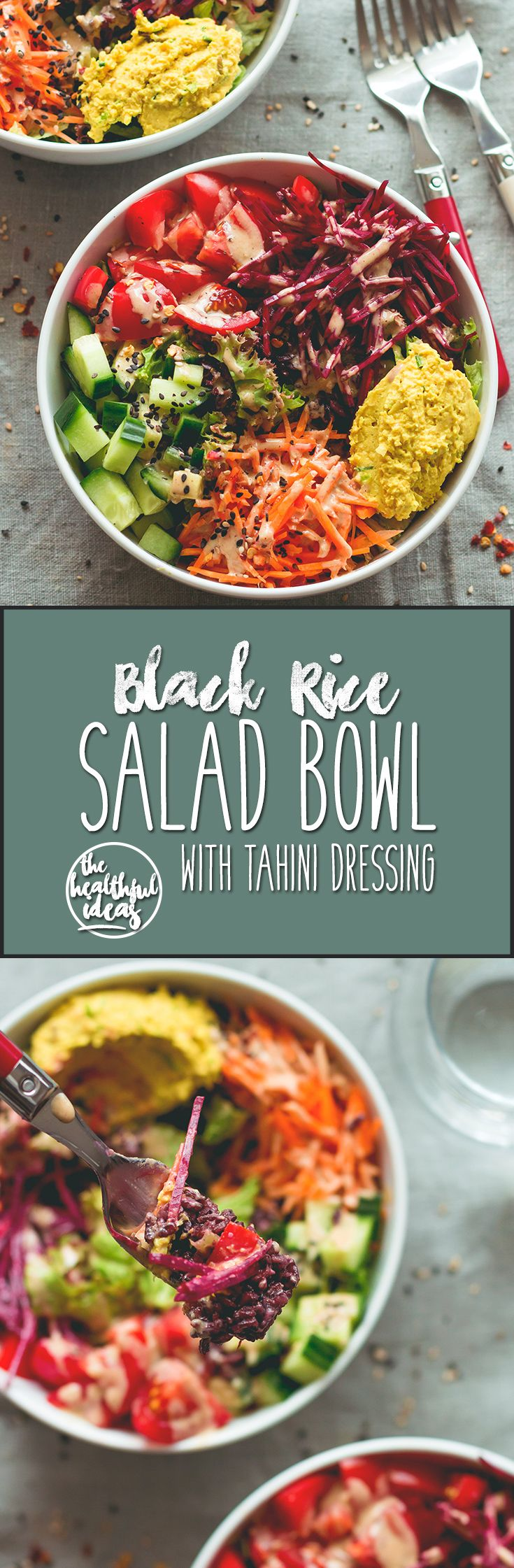 Black Rice Salad Bowl with Tahini Dressing - easy to make fresh summer salad. I love to make this ahead for busy work days! Tomatoes, cucumber, beets, carrots, hummus, lettuce, black rice, and tahini dressing. (vegan, GF)   thehealthfulideas.com