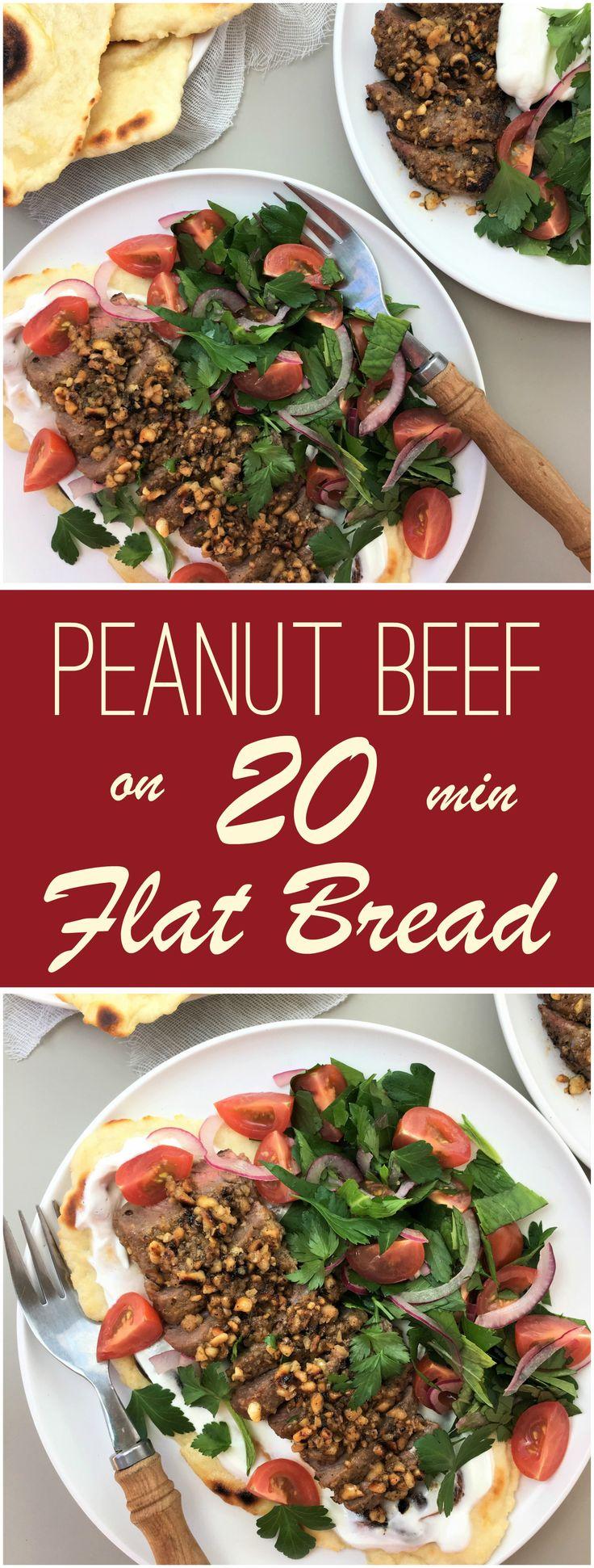 Peanut beef on 20 minute flatbread   no yeast   steak  