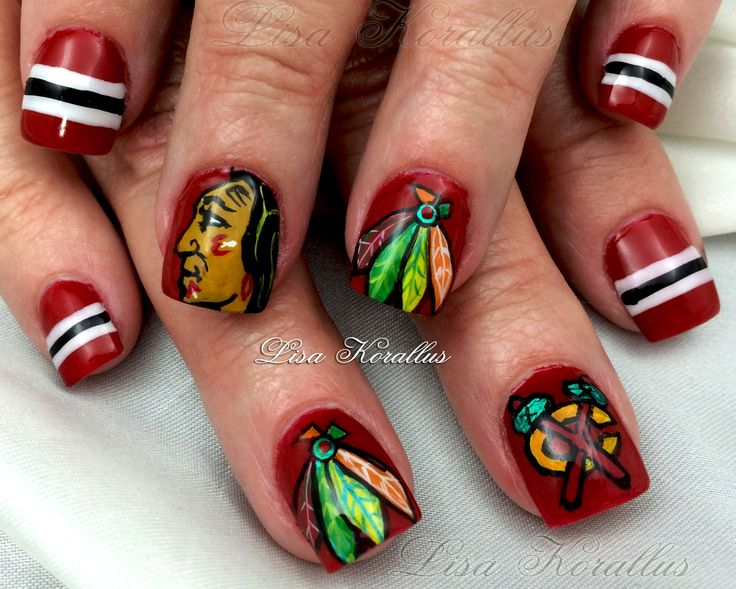 8 best Chicago Blackhawk and other Sport Nail Art Design Nails ...