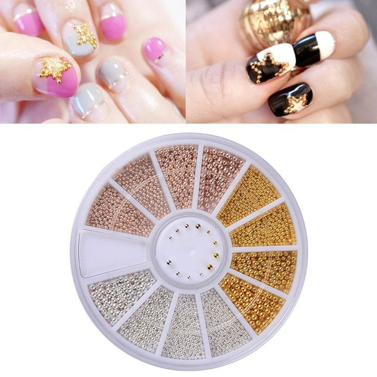 0.8-1.3 mm 3D Nail Art Deco Gold/Silver/Rose Gold Metal Materials Beads Wheel #Unbranded