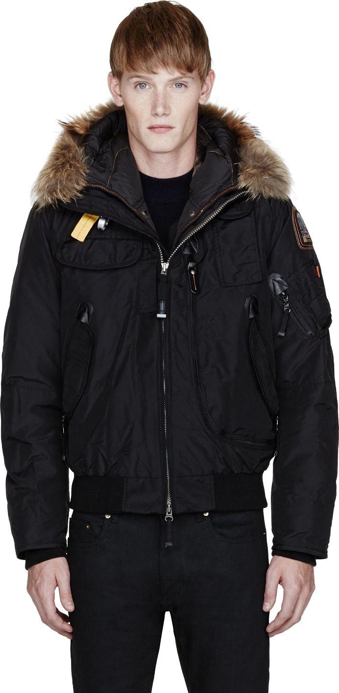 Parajumpers - Black Raccoon Fur Hood Layered Gobi Jacket