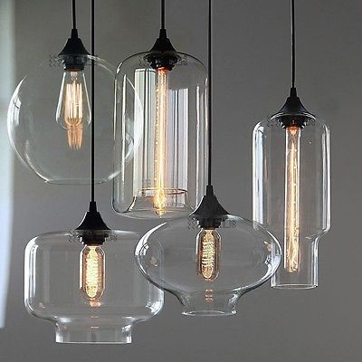 NEW Modern Retro Glass Pendant Lamps Kitchen Bar Cafe Hanging Ceiling Lights