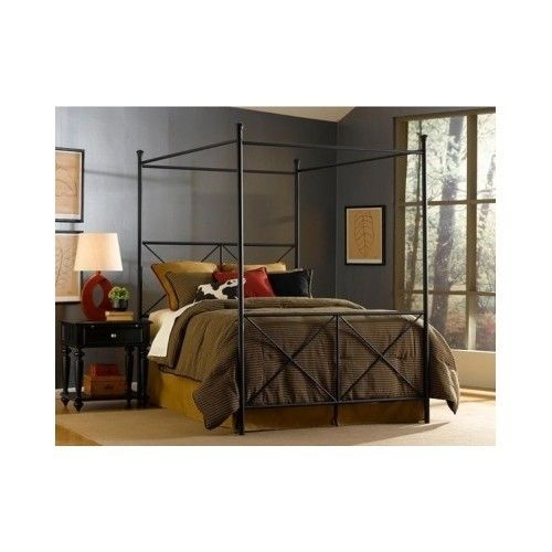 Queen Canopy Bed Frame Bedroom Headboard Footboard Furniture Bedding Xmas Gift #Contemporary