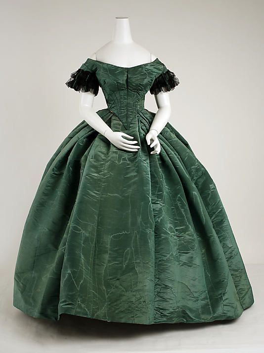 1850s watered silk evening dress - good example of upper class fabric - but hard to buy these days!