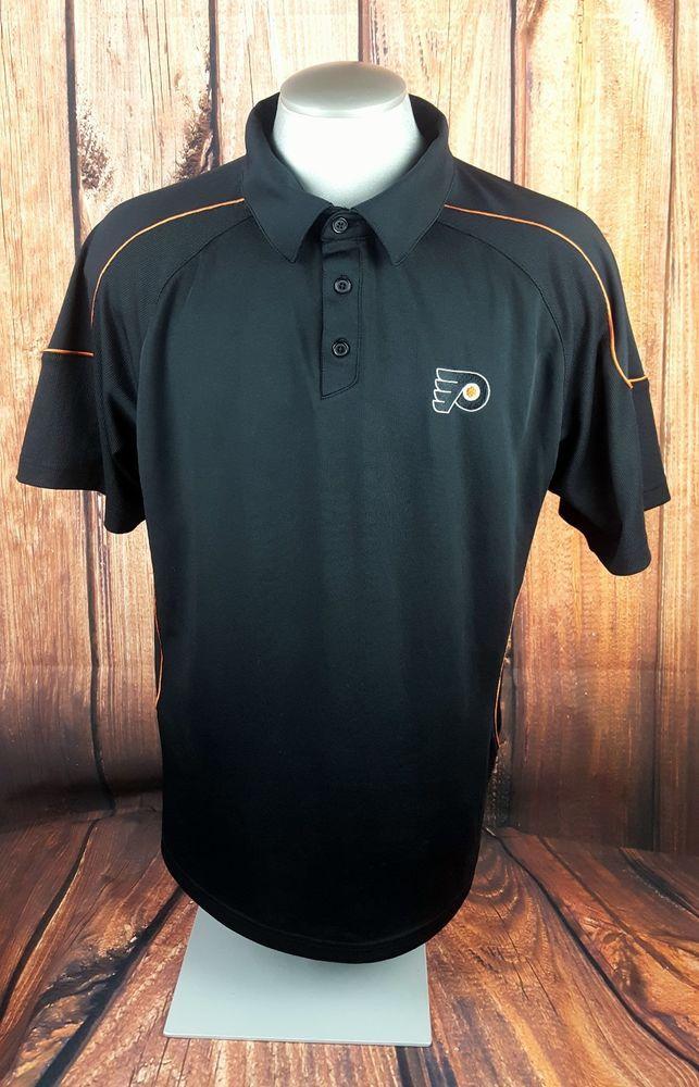 Reebok NHL Philadelphia Flyers Hockey Mens Polo Shirt Size Large Black Logo  #Reebok #ShirtsTops