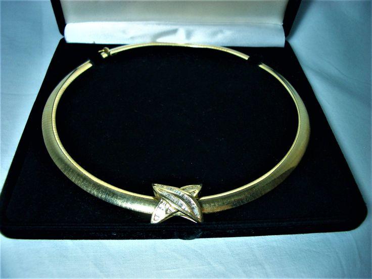 NOS! 8mm Omega diamond necklace, 14 kt gold, 45 grams, slider pandant, women's jewelry, unworn by AntiqueBoutiqueZ on Etsy