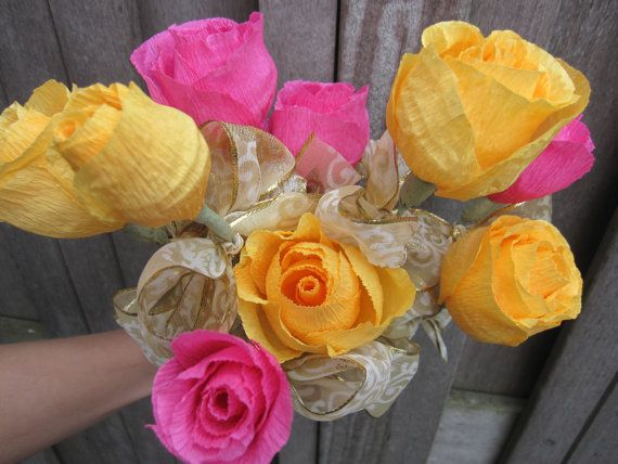 10 pcs big PAPER FLOWERS BOUQUET by moniaflowers on Etsy