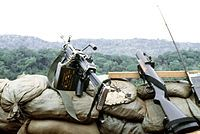 "M79 grenade launcher is a single-shot, shoulder-fired, break-action grenade launcher that fires a 40x46mm grenade which uses what the US Army calls the High-Low Propulsion System to keep recoil forces low, and first appeared during the Vietnam War. Because of its distinctive report, it has earned the nicknames of ""Thumper"", ""Thump-Gun"", ""Bloop Tube"", and ""Blooper"" among American soldiers;[1] Australian units referred to it as the ""Wombat Gun"".[2] The M79 can fire a wide variety of 40 mm…"
