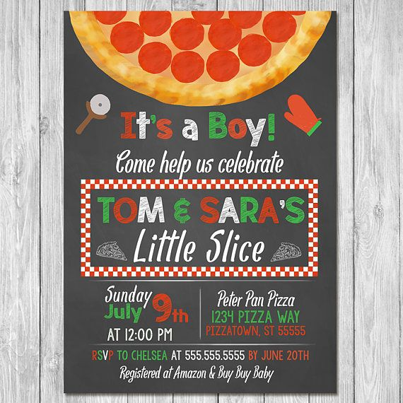 Pizza Party Baby Shower Invitation   Baby Shower Invite   Couples Baby  Shower   Pizza Baby Shower   Couples Pizza Baby Shower   Chalkboard