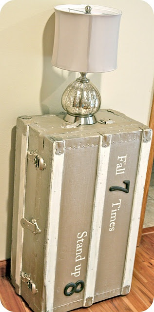 I love this trunk redo.  I think I have one just like this out in the garage!